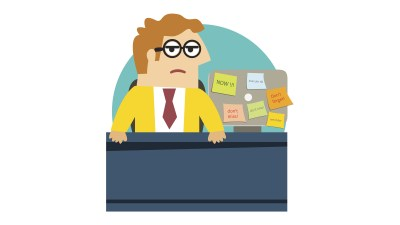 Worried ADHD angry office worker at the desk