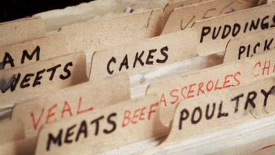 Old recipe box, with sections for cakes, meats belonging to someone with ADHD