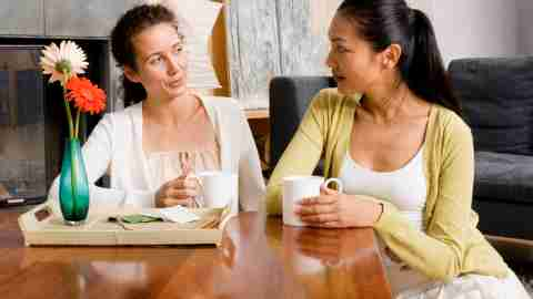 Two women with ADHD have coffee and relax together