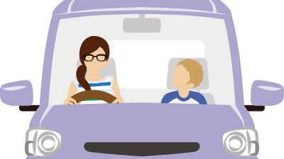 Mom and son riding the Purple car talking about overcoming ADHD social problems