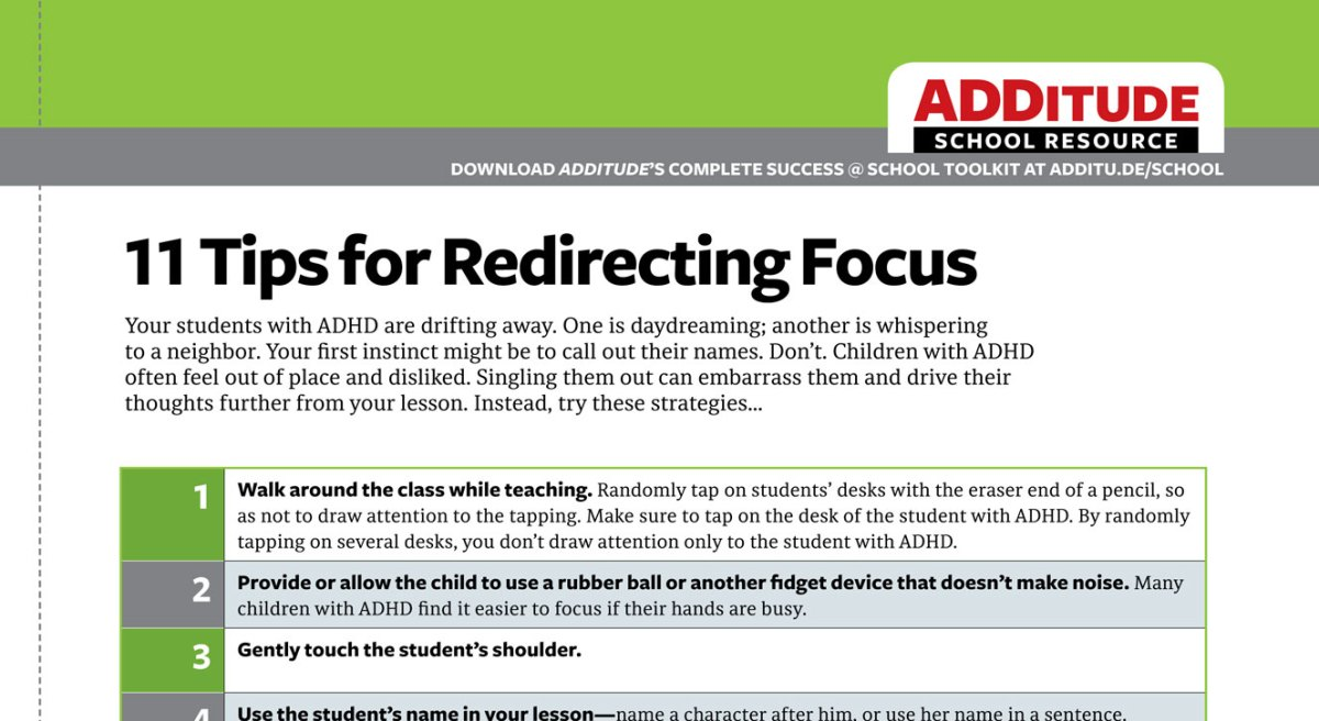 redirect focus in the classroom  adhd school resource for