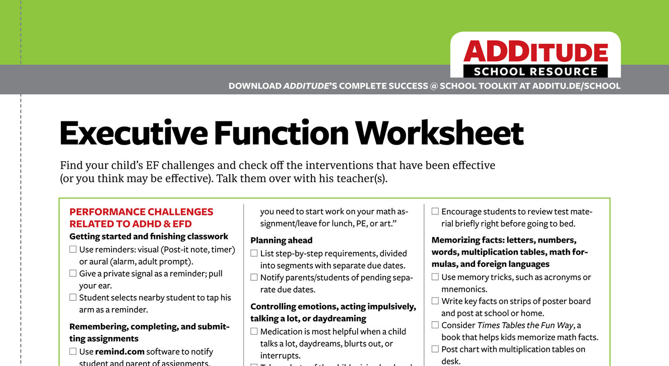 Common Executive Function Challenges ADHD Back to School ...