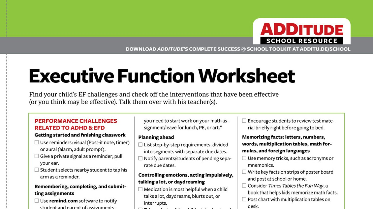 Free Handout: A Checklist of Interventions to Common Executive Function Challenges
