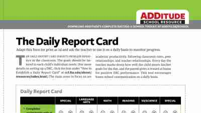 Free Back-to-School Resource: The Daily Report Card