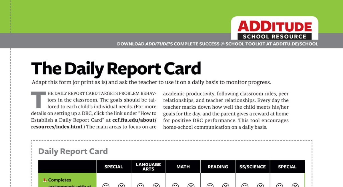 the daily report card  adhd school resource for parents