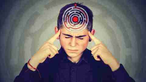 A young boy struggling to control his brain's default mode network
