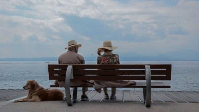 older adhd depression couple sitting on bench