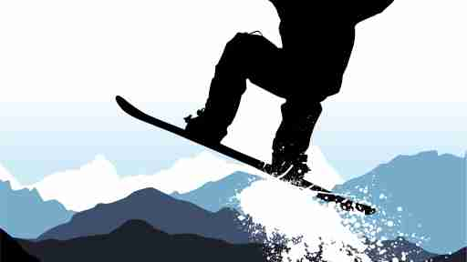 A college dropout with ADHD snowboarding in the mountains