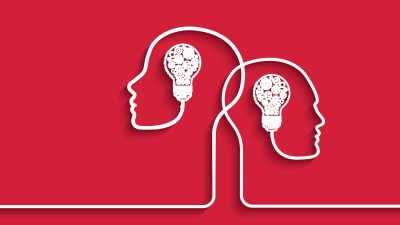 Human heads with lightbulbs for brains representing the knowledge gained from an ADHD FAQ
