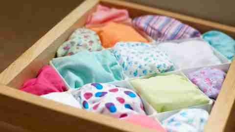 Organizing strategies are covered in one of the best ADHD podcasts, represented with a picture of a neat underwear drawer