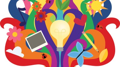 Illustration of a lightbulb and a computer in the middle of swirls of color, representing teen executive skills