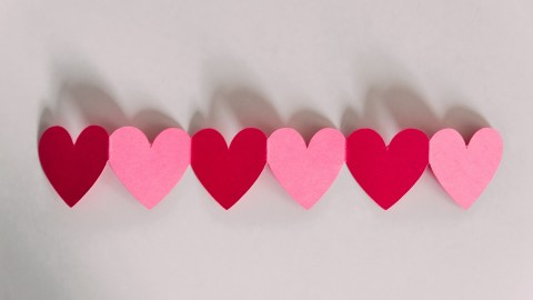 A row of hearts crafted by a mom with ADHD