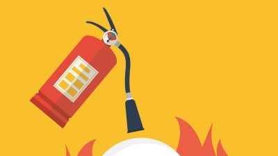 An illustration of a fire extinguisher on an orange background, symbolizing challenges parents face when kids with ADHD reach middle school