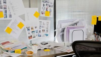 clutter, paper on desk