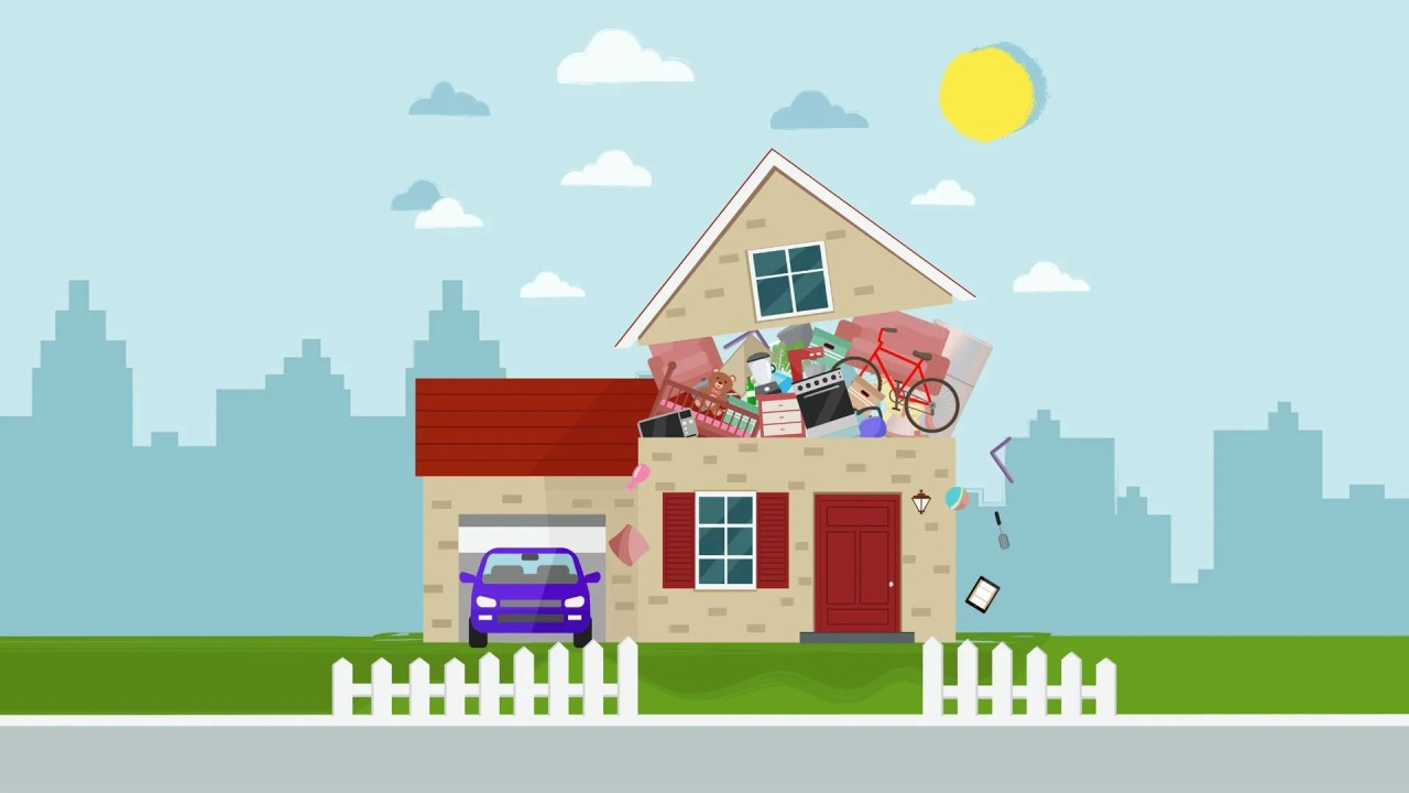 An illustration of an overstuffed house represents excessive clutter and hoarding.