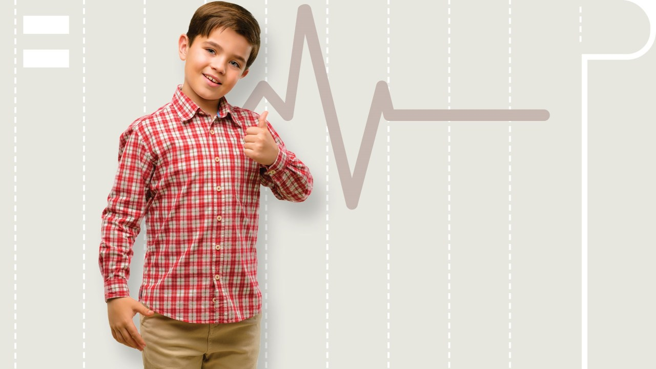 A composite image of a boy with ADHD, and neurofeedback waves