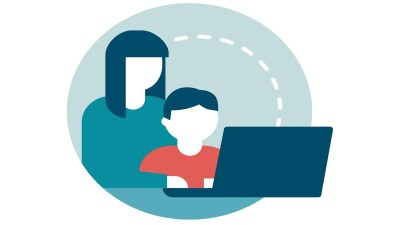 An illustration of a mother setting up parental control apps with her child.