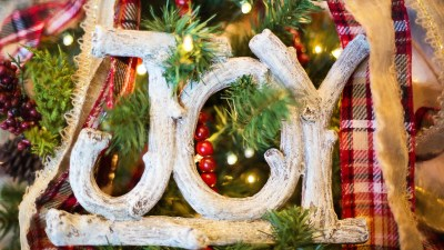 busy JOY sign symbolizing ADHD Christmas decorating