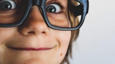 Boy in goofy glasses