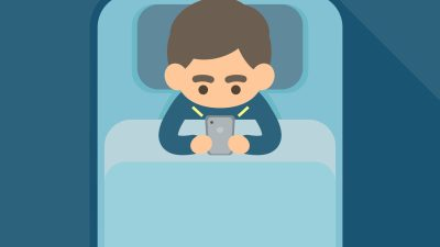 Young man using text on smartphone in bed, addiction technology and internet social network concept, Vector icon illustration.