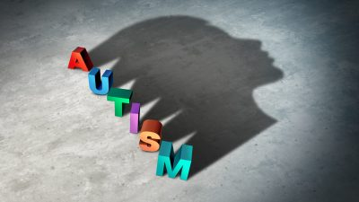 Autism and autistic child disorder symptoms as a neurology disorder syndrome and a medicine or mental health spectrum diagnosis concept as a 3D illustration.