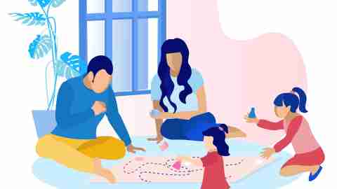 Parents with Children Playing Game at Home. Flat Cartoon Mother, Father and Two Daughter Different Ages Spending Time Together in Living Room. Happy Parenthood and Childhood. Vector Illustration