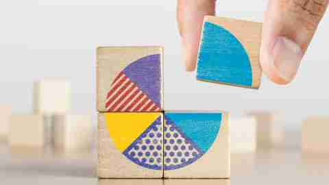 Wooden blocks forming a pie chart.