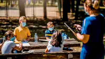 Summer camp for kids with ADHD – Children wearing face masks