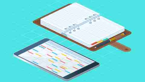 illustration of a digital and paper planner