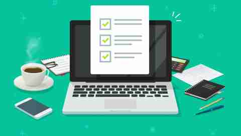 Checklist document on laptop and working desk vector. Cartoon computer with checkmarks document or to do list with checkboxes, concept of survey. Online quiz or done test, feedback or workplace table