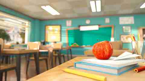 Cartoon style school elements - book, pen, pencils and red apple on desk in empty classroom. 3D rendering illustration. Back to school design template without people.