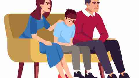 Illustration of family sitting on couch