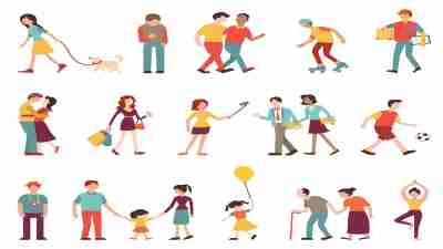 People in various lifestyles, businesspeople, woman walking to the dog, teenager, hipster, friends, sportman, woman doing yoga, homosexual, couple, lovers, family. Character set with flat design style.