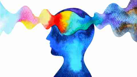 DESR: Concept illustration of thoughts and feelings in the brain. A band of colors passing over a silhouette's head.