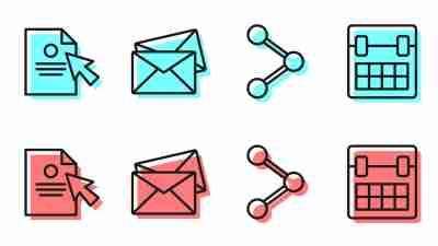 Digital skills concept - calendar, email, document icons