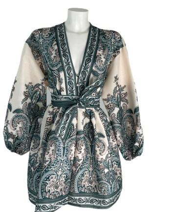 korte jurk met kashmire patroon
