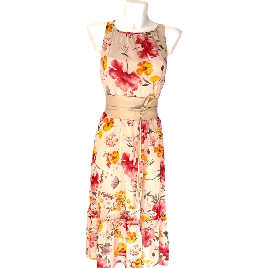 beige chiffon floral dress