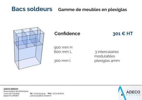 Prix des bacs soldeurs - gamme de meubles en plexiglas confidence