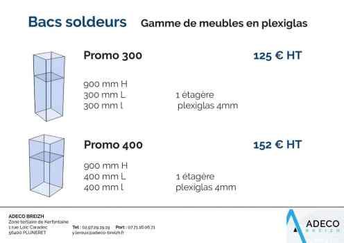 Prix des bacs soldeurs - gamme de meubles en plexiglas promo