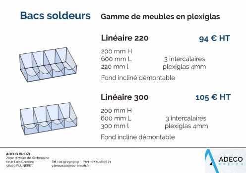 Prix des bacs soldeurs - gamme de meubles en plexiglas Linéaire