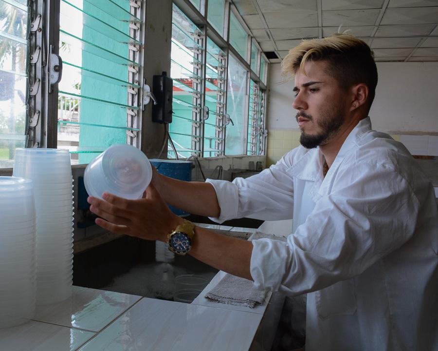 El proceso comienza con la esterilización de los potes que van al proceso productivo. Fotos: Leandro Pérez Pérez/Adelante