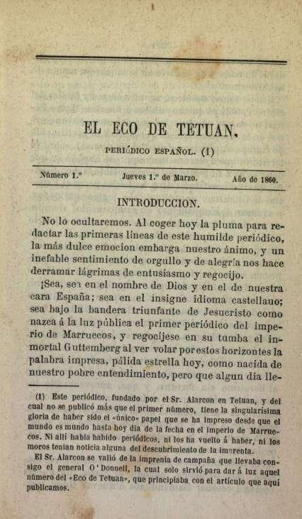 """Primera plana del primer número de """"El eco de Tetuán"""""""