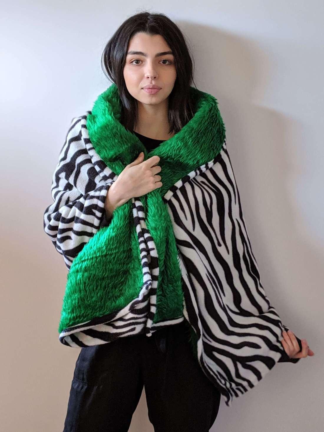 zebra shawl with green fur