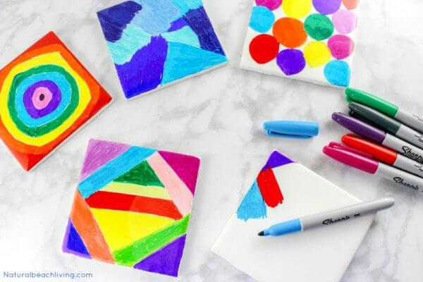 Sharpies used to decorate mini tiles