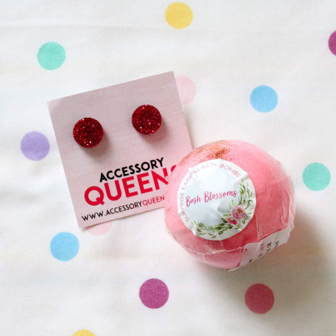 Earrings and Bath bomb by Accessory Queens
