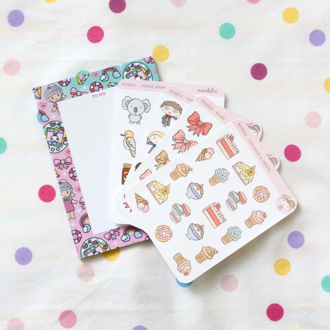 Sticker set and note pad by Mockeri