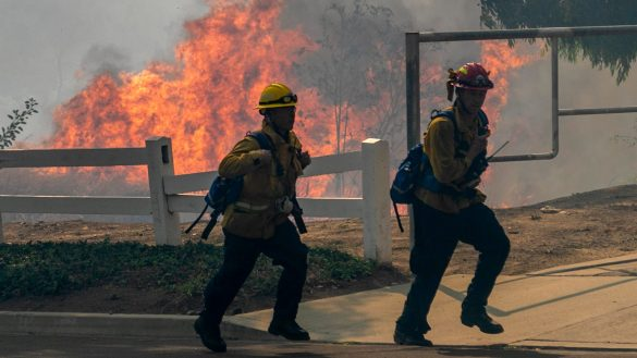 California Gov. Gavin Newsom touts 'extraordinary work' of firefighters against wind-whipped Orange County wildfires