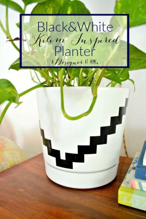 How I Made It  Black and White Planter   A Designer At Home Black and White Kilim Inspired Planter   the easiest boring planter upgrade  ever