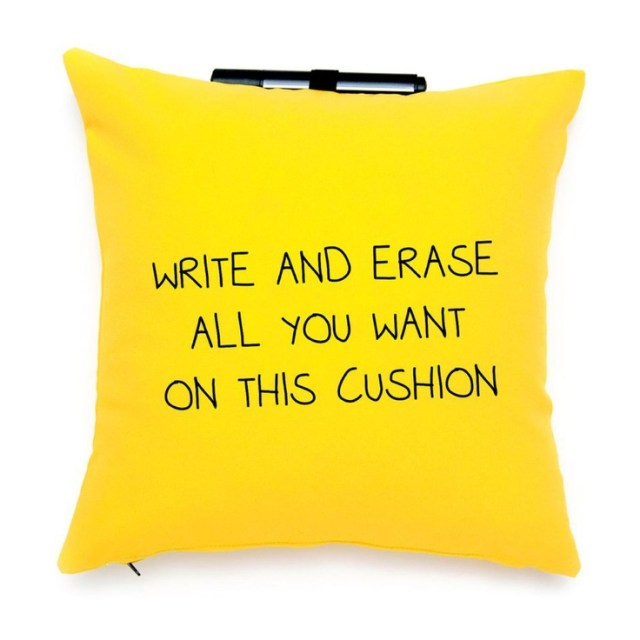 Yellow Post It Note pillow - write and erase all you want on this cushion! Clever! #product_design