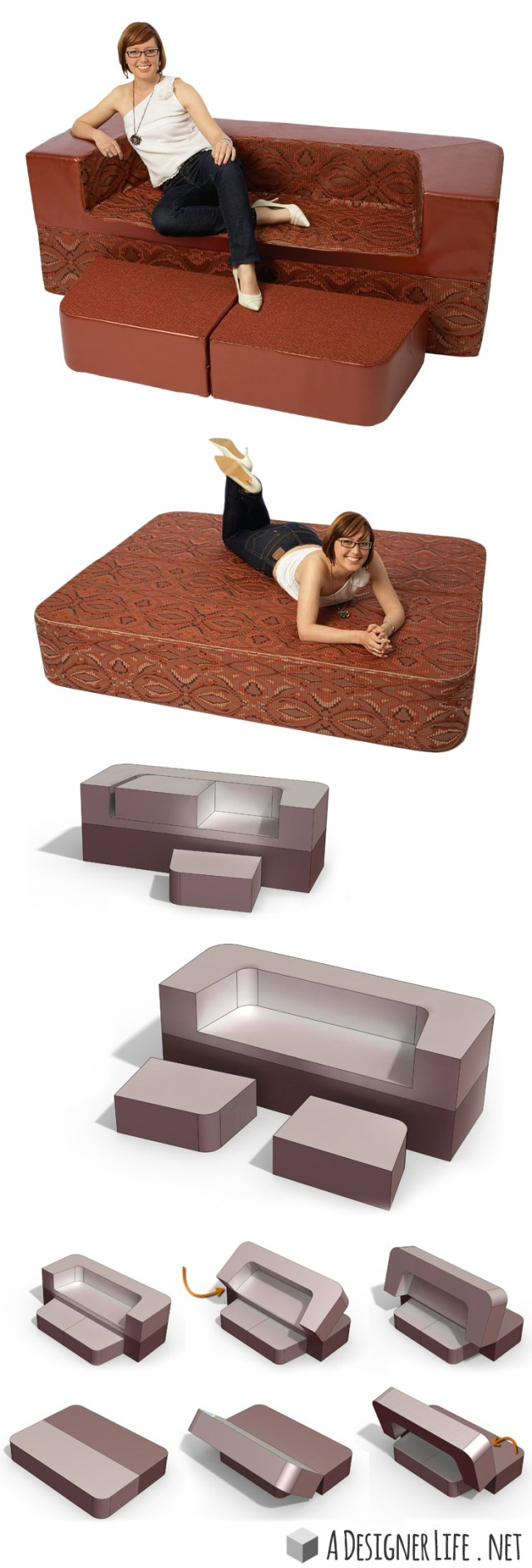 This convertible sofa creates a double bed in 3 seconds - brilliant! #product_design